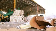 Stock Video Footage of Recycling Paper center environment Ecologic waste garbage forklift Carton