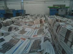 Huge piles of printed newspaper printing shop. Stock Footage
