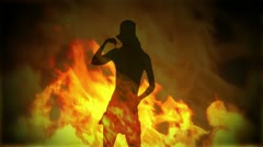 Adult Girl A flames 02 Stock Footage