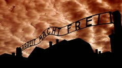 Poland Auschwitz orange clouds Stock Footage