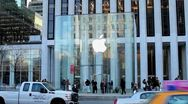 Apple Store 5th Avenue NY New York City glass cube 1080 25P PAL Stock Footage