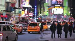 Times Square New York City at night car traffic yellow cab 1080 25P PAL - stock footage