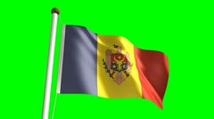 Moldova flag (Loop & green screen) Stock Footage