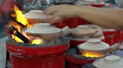 Seasoned Clay Pot Rice in Food Court in Singapore Stock Footage