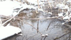 Winter creek with snow Stock Footage