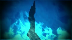 Adult Girl A flames blue 03 Stock Footage
