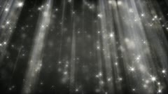 Black and white background glittering particles in light beams loop Stock Footage