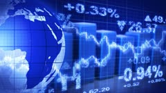Globe and graphs blue stock market loopable background Stock Footage