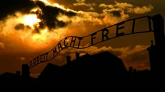 Poland Auschwitz sunset Stock Footage