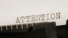 ATTENTION. NOTICE. BRIEFLY. Typing. - stock footage