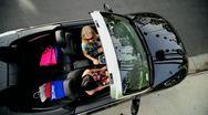Girlfriends Shopping Trip Luxury Car Stock Footage