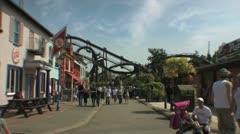 Amusement Park Wide Shot - Families & Children Playing HD Stock Footage