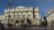 Timelapse of La Scala opera house, Milan, Italy Stock Footage