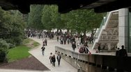 Stock Video Footage of Thames riverside tourist crowd