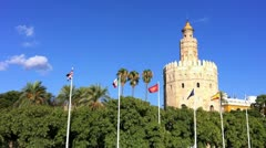 Torre del Oro on Clear Blue Sky Stock Footage