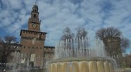 Timelapse of Sforza Castle and artesian well, Milan, Italy Stock Footage