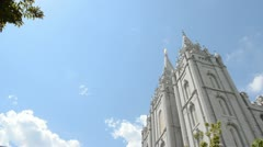 Salt Lake LDS Mormon Temple blue sky clouds 8426 Stock Footage