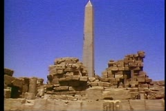 Temple ruins at Luxor with an Obelisk 108084 Stock Footage
