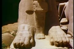 Ram Statue at The Temple of Karnak in Luxor, Egypt 108083 Stock Footage