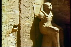 The Temple of Karnak with a pharaonic statue and hieroglyphics 108086 Stock Footage