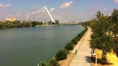 Olympic Alamillo Bridge in Seville Spain Stock Footage