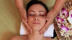 Woman gets a head massage Stock Footage
