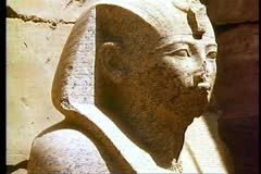 Pharaonic head at The Temple of Karnak 108087 Stock Footage
