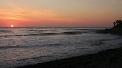 Sunset on California Coastline Stock Footage