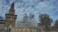 Sforza Castle and artesian well, Milan, Italy Stock Footage