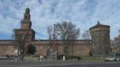 Sforza Castle and traffic car, Milan, Italy Stock Footage