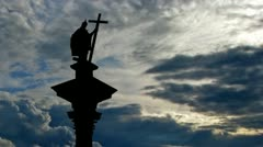 Poland King Sigismund Column clouds Stock Footage