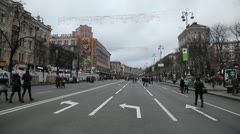 Kreschatik  street in Kiev Stock Footage
