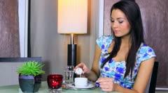 Woman drinking coffee Stock Footage