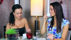 Women taking in a cafe Stock Footage