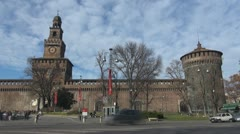 Timelapse Sforza Castle and traffic car, Milan, Italy Stock Footage