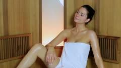 Woman in sauna Stock Footage