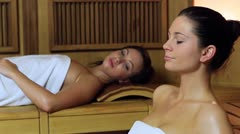 women in sauna - stock footage