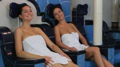 Women relaxing in spa Stock Footage