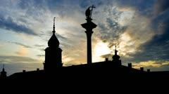 Poland King Sigismund Column panorama sunset Stock Footage