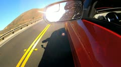 Cabriolet Car Driving Coastal Highway Stock Footage