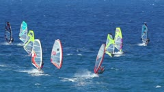 maui, hi - february 2: windsurfers sail at the world famous ho'okipa beach pa - stock footage