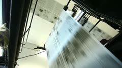 view on huge press shop typography machine - stock footage