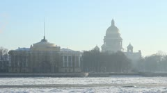 The Admiralty building and Isaac Cathedral in winter, St. Petersburg, Russia Stock Footage