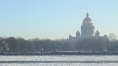 PAN: St. Isaac Cathedral and Neva river in winter, St. Petersburg, Russia - stock footage