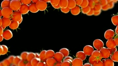 Two Tomatoe Cherry flows with slow motion. Alpha is included Stock Footage