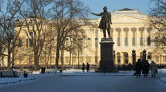 The Russian Museum and The Pushkin monument in winter, St. Petersburg, Russia Stock Footage