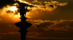 Poland King Sigismund Column sunset Stock Footage