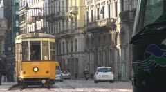 Old tram in Milan, Italy Stock Footage