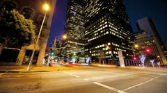 Stock Video Footage of Motion Panning Time lapse Night City Traffic and Pedestrians