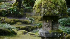 Stone Lantern In Japanese Garden Stock Footage